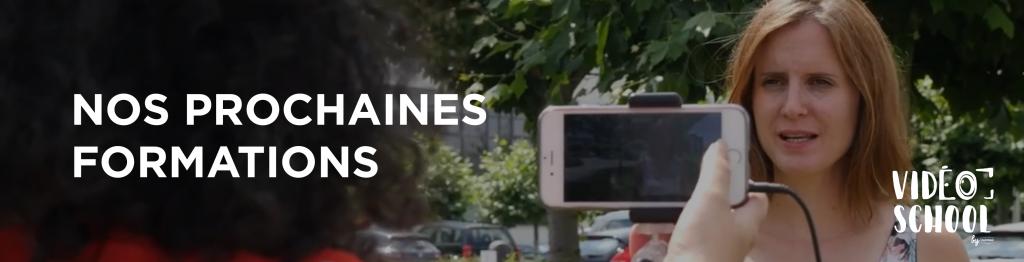 Femme qui se fait interviewer lors d'une formation Vidéo School avec un smartphone