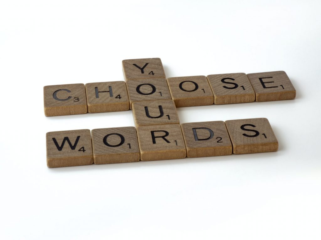 "Lettres de scrabble ""choose your words"""
